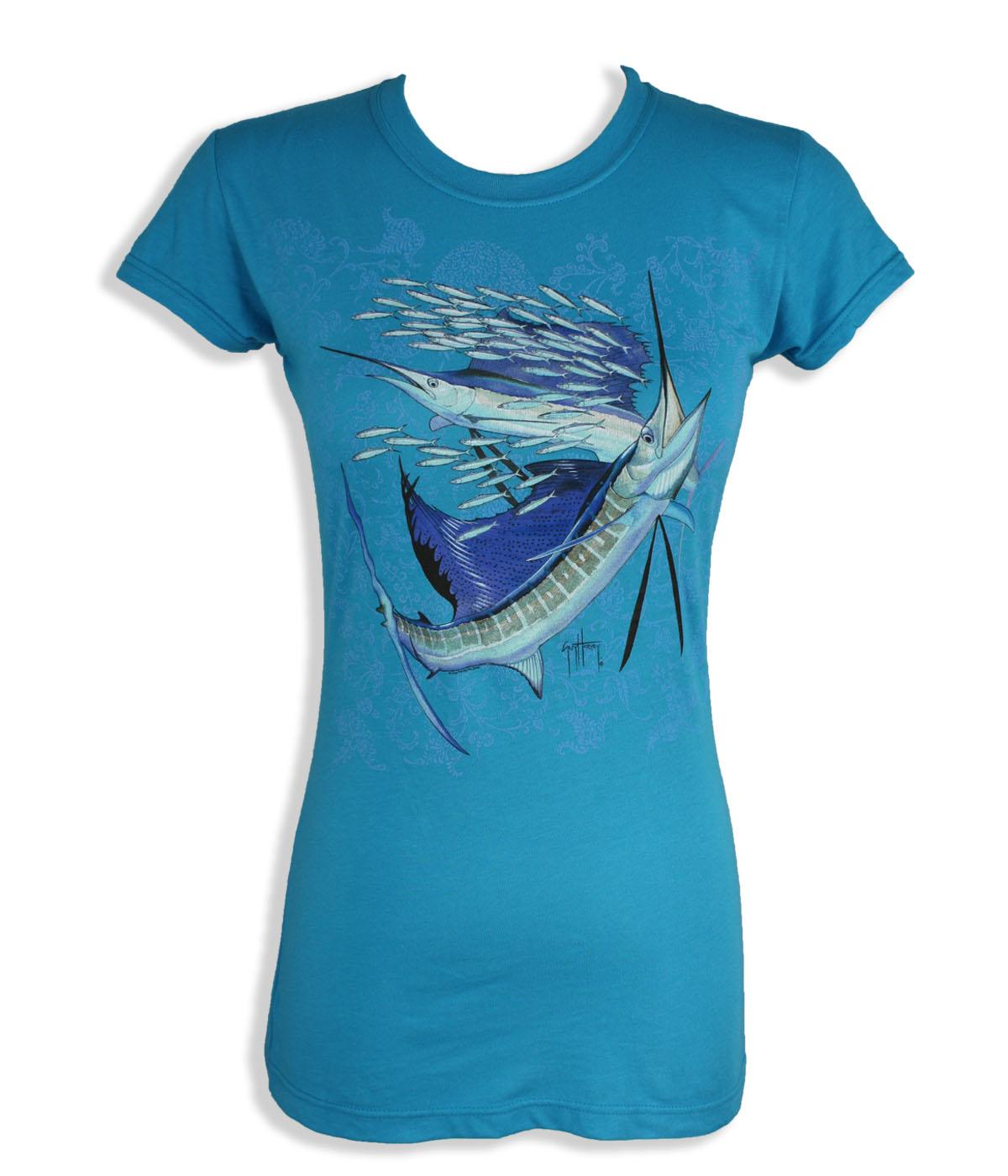 Guy Harvey Womens T-Shirt – Paisley Sails – Turquoise