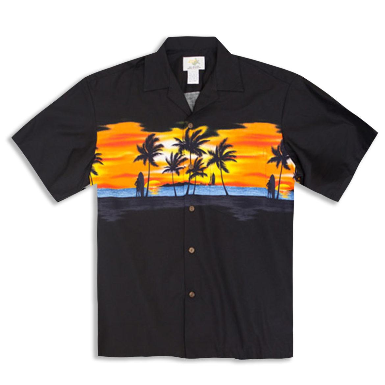 Hawaiian Shirt - Sunset - Black