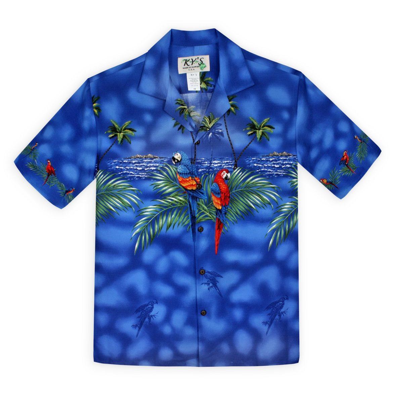 Mens hawaiian Shirt - Parrots of the Caribbean - Blue