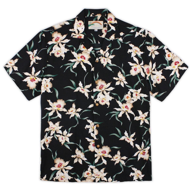 Paradise Found Hawaiian Shirt - Star Orchid Black