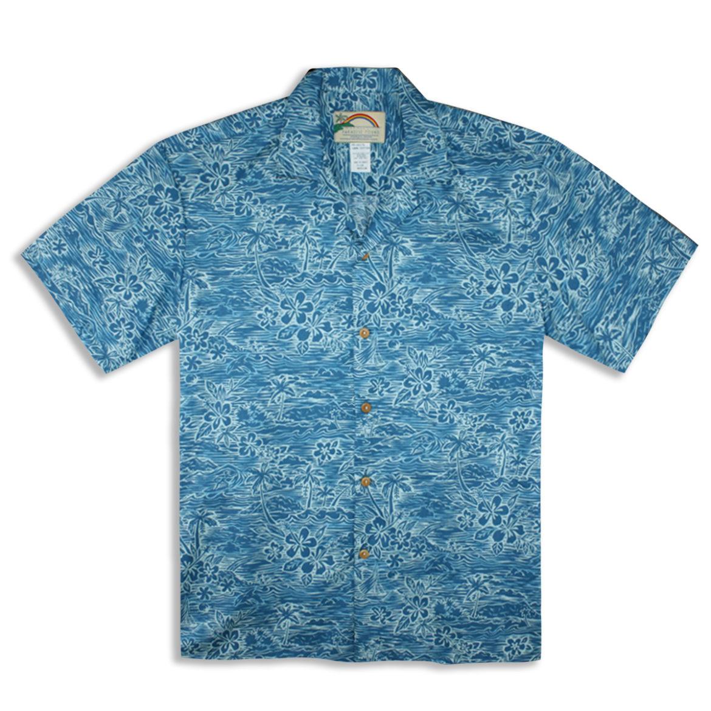 Paradise Found Hawaiian Shirt - Surf & Turf - Turquoise
