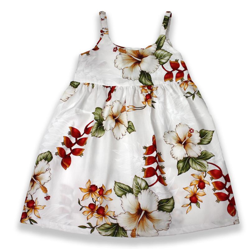 Girl's Babydoll Sundress – Heliconia Hideaway – White (Sizes 2, 4, & 6 Left)