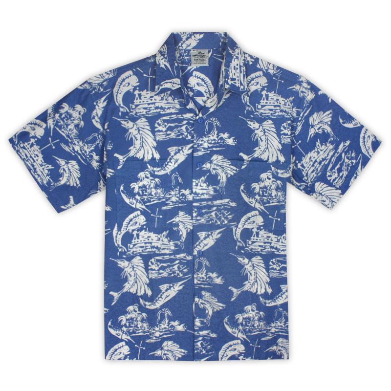 Rum Reggae Men's Hawaiian Shirt Retro Fishin' Blue