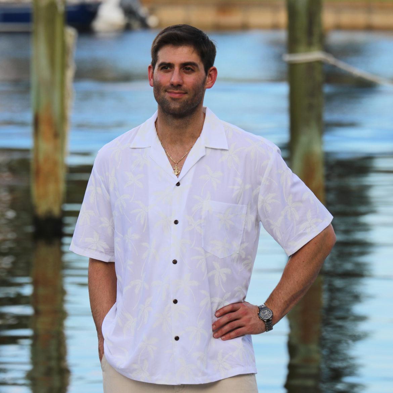 mens-soft rayon-tropical-shirt-island-palms-white -model