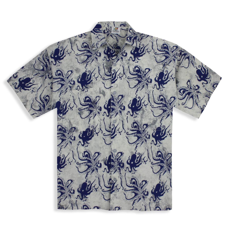 RumReggae - Mens shirt - Hawaiian Tropical - Twenty Thousand Leagues - Octopus Shirt - Misty Grey