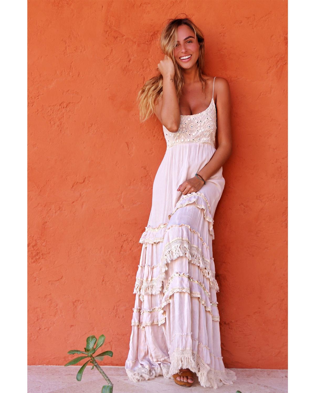Long Spaghetti Strap – Boho Breeze – Off White- model
