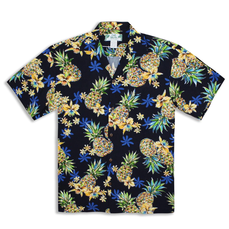 Men's Hawaiian Shirt - Golden Pineapple - Navy Blue