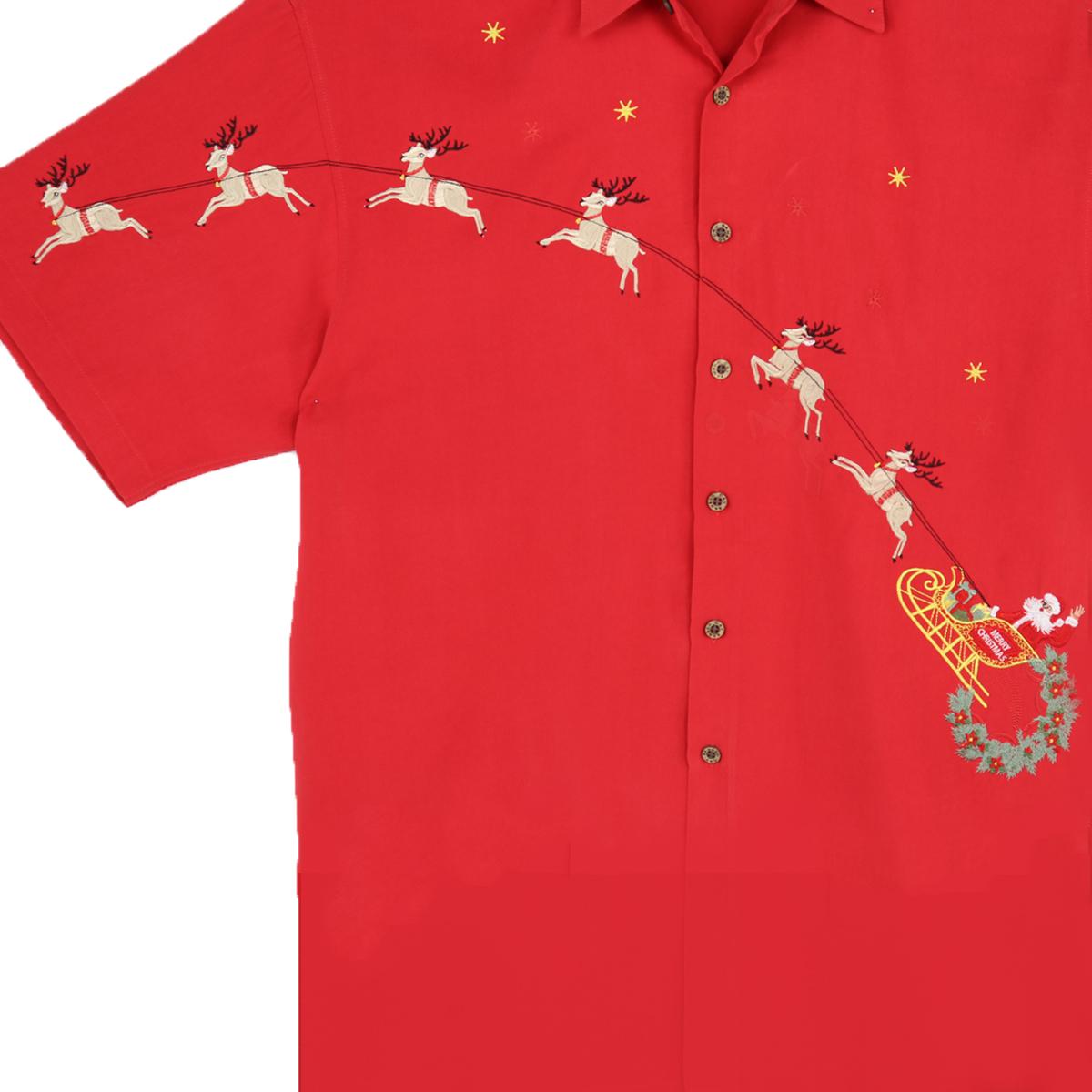 Bamboo Cay Men's Shirt – Flying Santa – Tomato – front WHOLE CLOSE UP