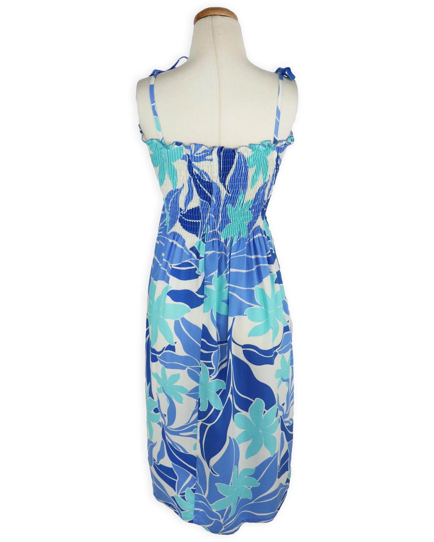 Shirred Tube Top Sundress – Tropic Vibes – Blue